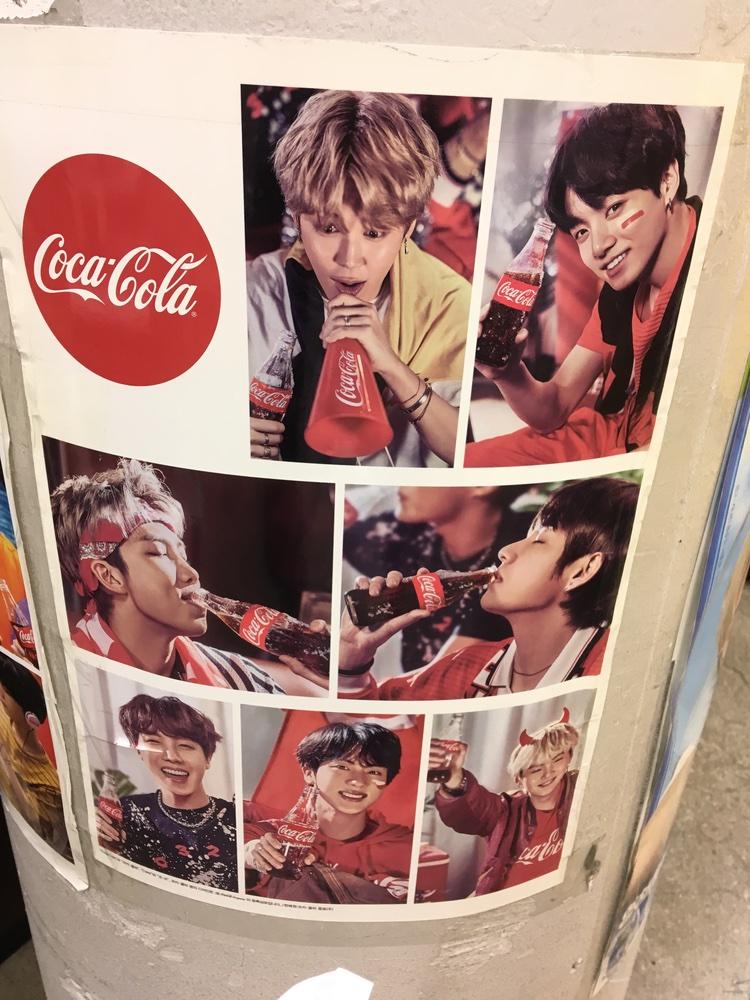 BTS Coca Cola Poster at a convenience store